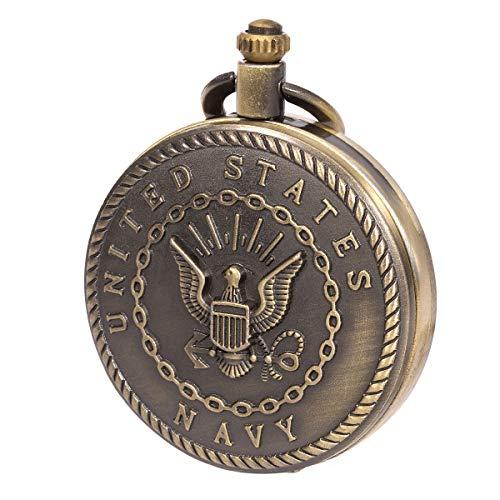 SIBOSUN Pocket Watch Engraved United States Navy Mark