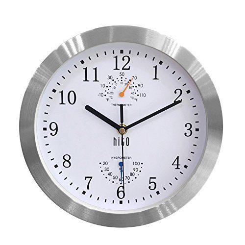 hito Modern Silent Wall Clock Non Ticking 10 inch