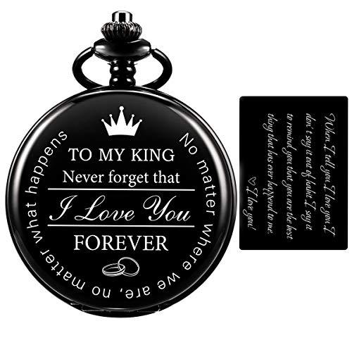 Pocket Watch for Men Engraved Black