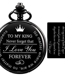 Pocket Watch for Men Engraved Black