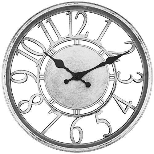 Silver Contour Wall Clock 12 inch Silent Non-Ticking Round Quartz