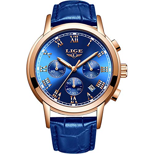 Mens Watches LIGE Leather Blue Watch Analog Quartz