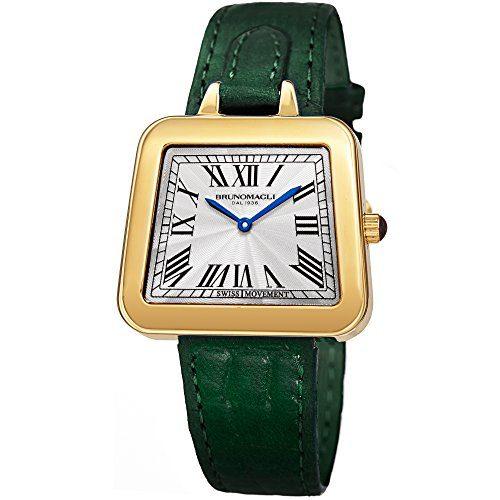 Hunter Green Bruno Magli Quartz Italian Leather Strap Watch