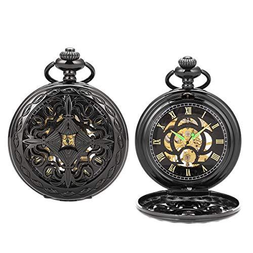 Vintage Black Mechanical Hollow Hunter Hand Wind Pocket Watch