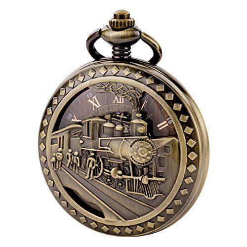 TREEWETO Antique Mens Pocket Watch Skeleton Bronze Case