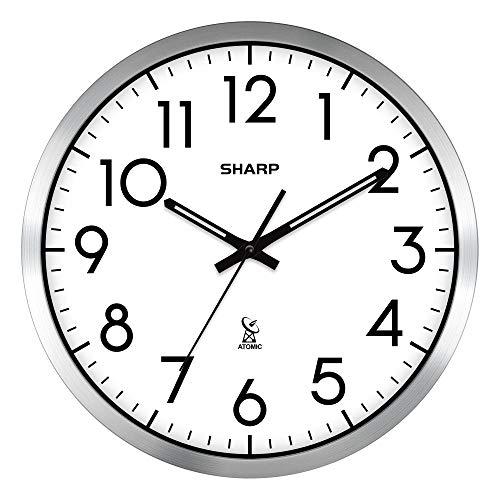 "Sharp Atomic Analog Wall Clock - 12"" Silver Brushed Finish"