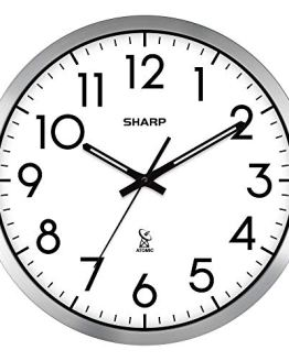 "Sharp Atomic Analog Wall Clock - 12"" Silver Brushed Finish"