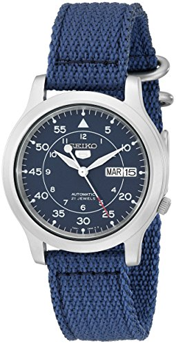 Seiko Automatic Stainless Steel Watch with Blue Band