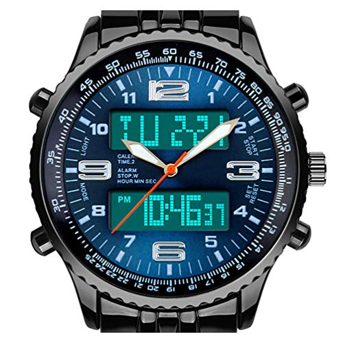 Digital Date Week Sports Outdoor Steel Blue Dial Watch