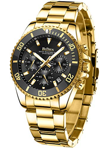 Mens Watches Chronograph Black Gold Stainless Steel Waterproof