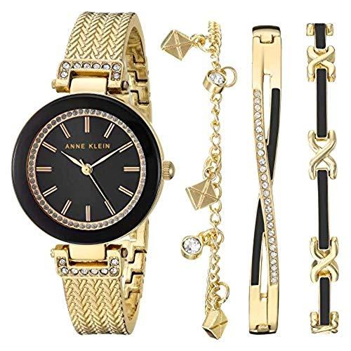 Anne Klein Rose Gold Bangle Watch and Bracelet Set