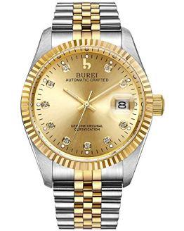 BUREI Mens Luxury Automatic Watch Dress Gold Self-Winding