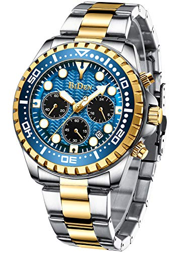 Mens Watches Chronograph Blue Gold Stainless Steel