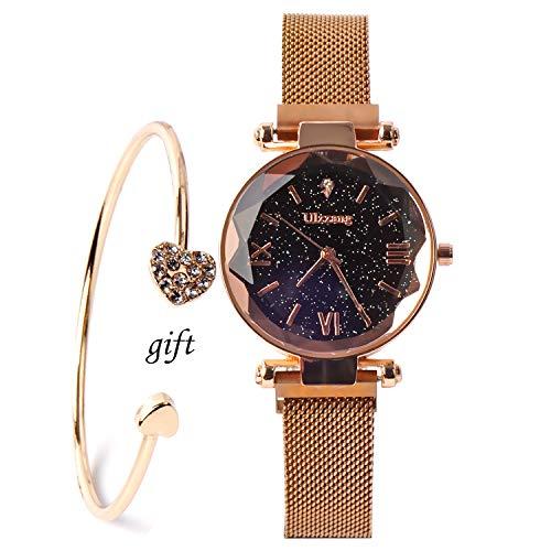 Rose Gold Bracelet Luxury Starry Sky Waistwatch