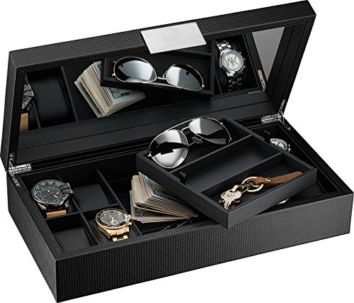 Glenor Co Watch and Sunglasses Box with Valet Tray for Men