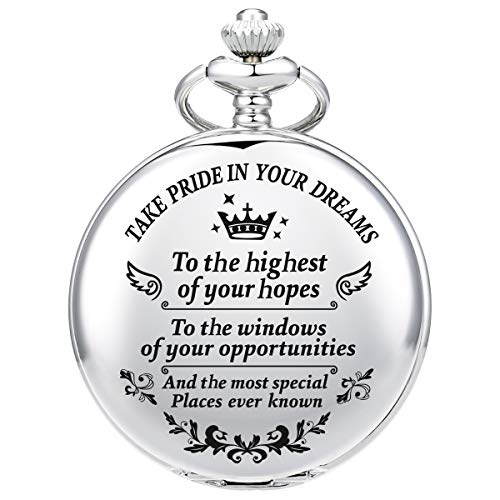 Pocket Watch Engraved Take Pride in Your Dreams