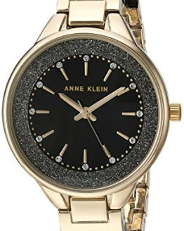 Gold-Tone and Black Shimmer Resin Bangle Watch Anne Klein