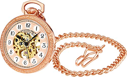 Rose Gold Pocket Watch with Chain Analog Skeleton