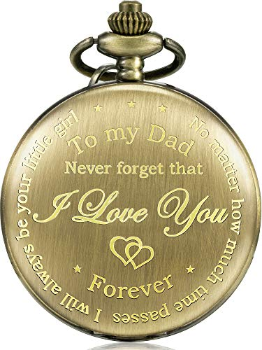 Hicarer Dad Present from Daughter to Father Engraved Pocket Watch
