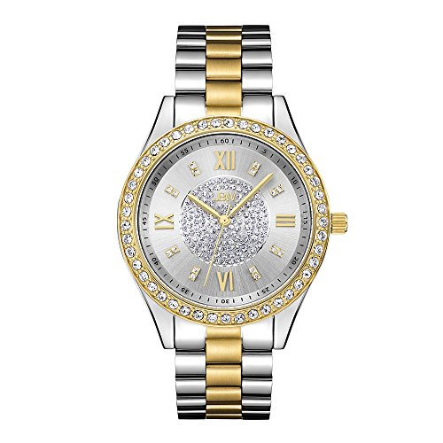 Two Tone Gold Silver Watch with Pave Diamond Face