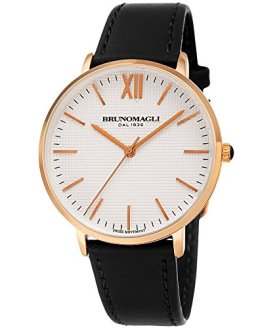 Bruno Magli White Dial with Italian Leather Strap Watch