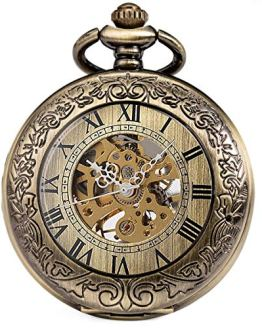 SIBOSUN Pocket Watch Mechanical Skeleton Antique Men