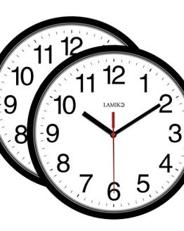 LAMIKO 2 Packs Non-Ticking Silent Wall Clocks Battery Operated