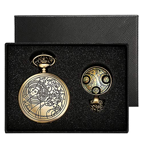 YISUYA Vintage Bronze Doctor Who Retro Dr. Who Quartz Pocket Watch