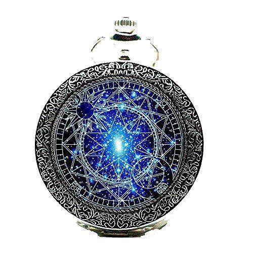 Watch Chain Bronze Pocket Watches-Steampunk Blue Magic Round