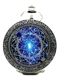 Watch Chain Bronze Pocket Watches-Steampunk Blue Magic Round