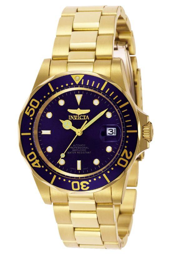 Gold/Blue Invicta Men's Pro Diver Automatic Watch