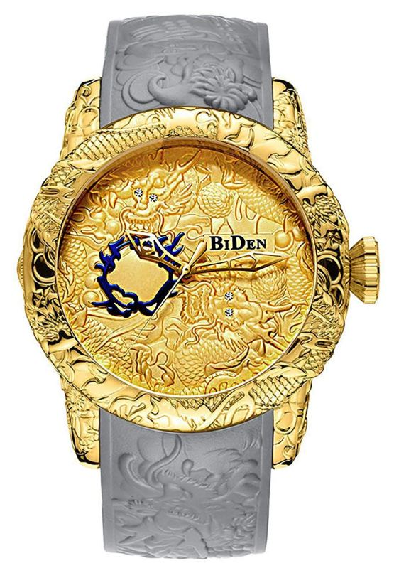 Dragon Watches for Men 3D Engraved Big Face Gold Watches