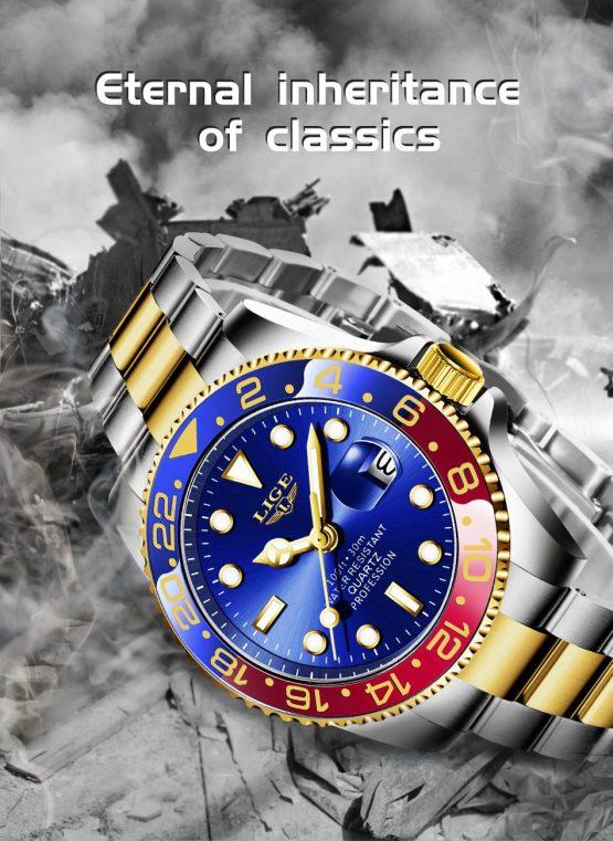 Waterproof Clock Male Wristwatch Diving Watch for Men
