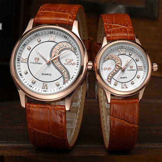 Ultrathin Leather LOVE Romantic Couple Wrist Watch