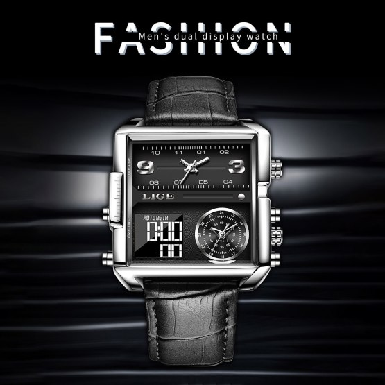 Men Pu Faux Leather Belt Wristwatches Electronic