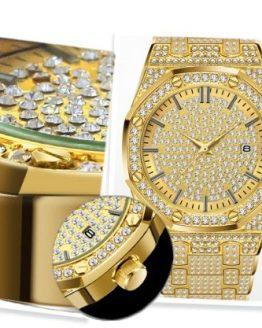 Butterfly Women Watches Diamond 18K Gold Watch