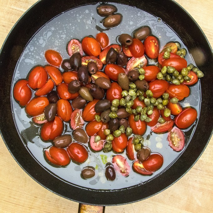 Step Two Simmer Tomatoes and Capers