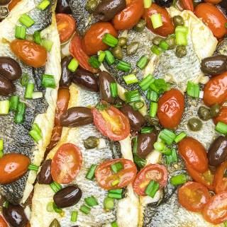 Crispy Branzino in tomato olive sauce