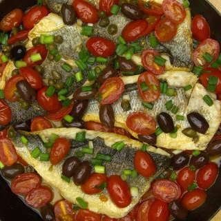 Branzino in Tomato Olive Sauce