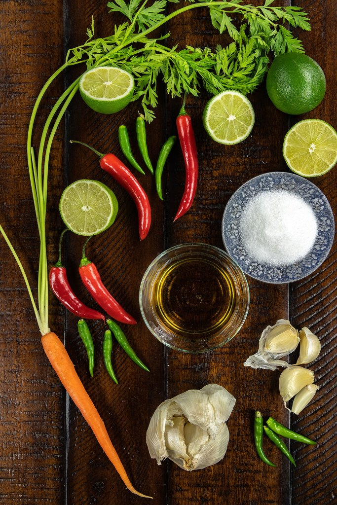 Ingredients for Nuoc Cham Vietnamese Fish Dipping Sauce