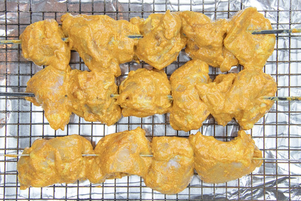 Thread the Chicken Tikka on skewers
