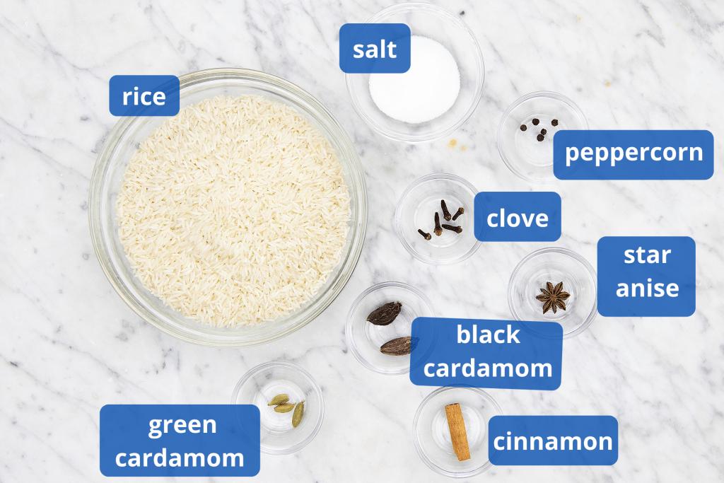 Fragrant basmati rice ingredients