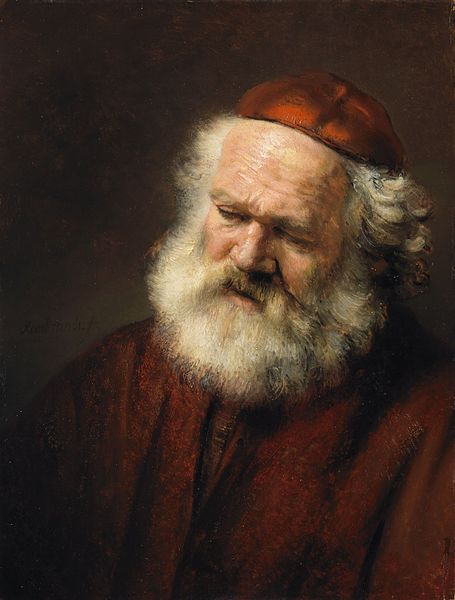 The Tired Look of an Old Man, created by a follower of the famous Rembrandt van Rijn