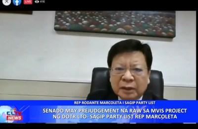 Senado may prejudgement na raw sa MVIS project ng DOTR LTO-SAGIP Party List Rep. Marcoleta