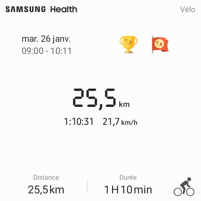 Résumé d'une session d'exercice dans Samsung Health