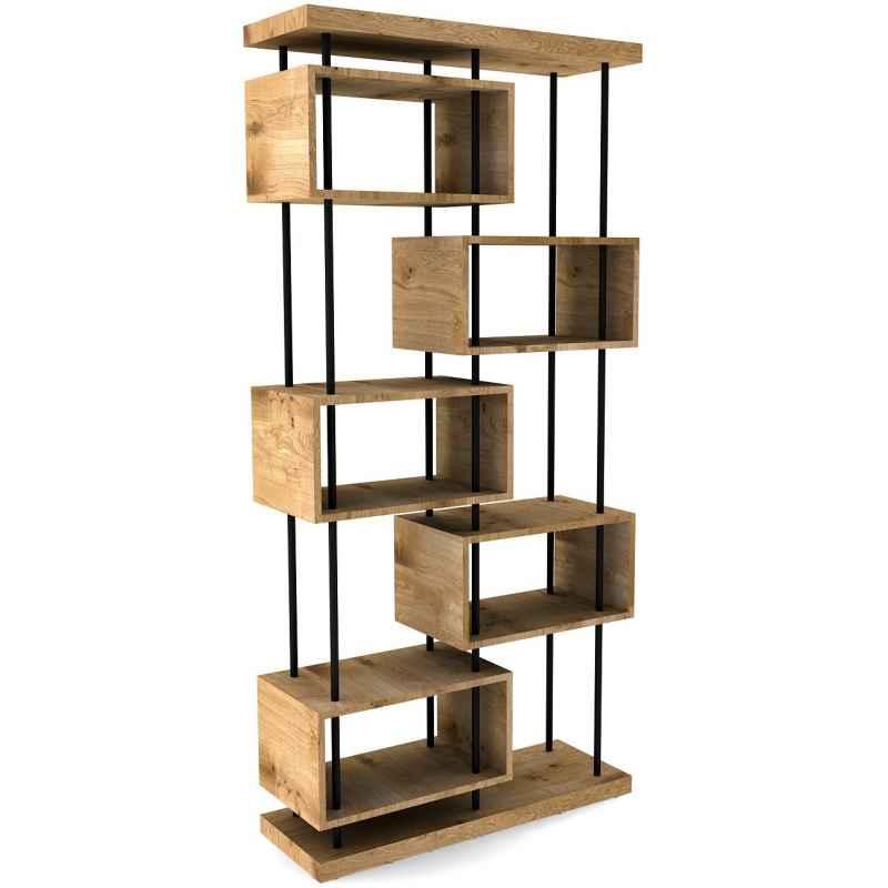 bibliotheque etagere bois chene clair et metal noir l 100xl 35xh 206 cm