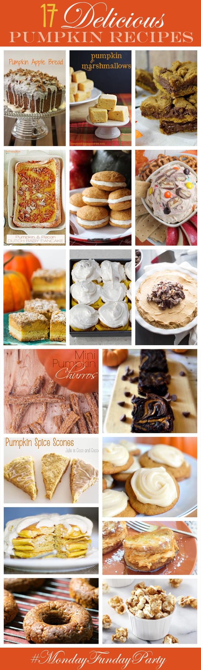 17 Delicious Pumpkin Recipe Ideas #MondayFundayParty