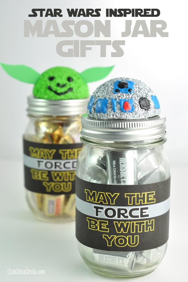 R2D2 and Yoda Mason Jar craft idea @clubchicacircle
