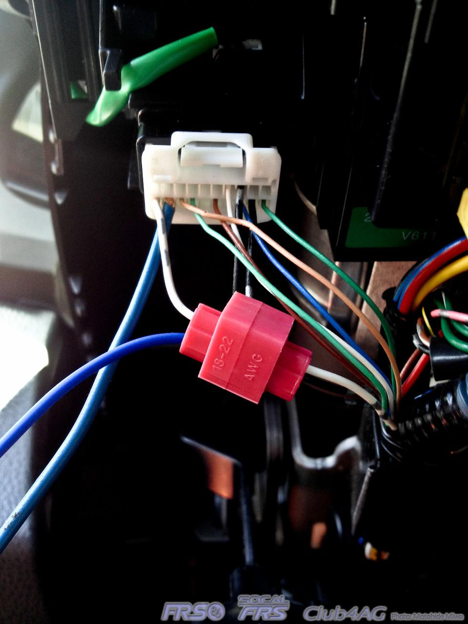 enabling automatic headlight circuit on scion fr s club4ag after connecting the pin 19 the last wire is the blue wire from the dei 545t the ground trigger wire this needs to go to the pin 20 where you see i