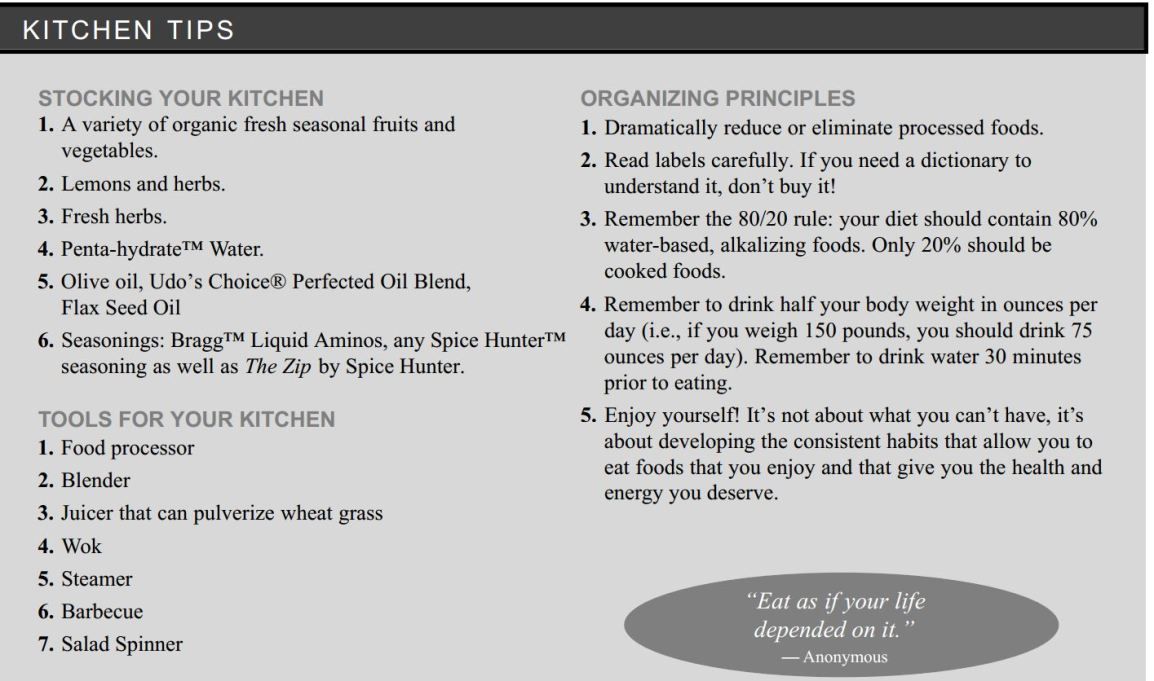 Menu for the healthy plus kitchen tips
